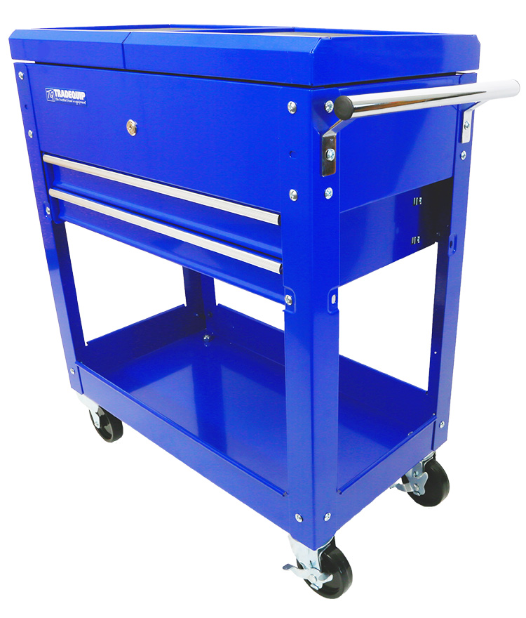 Workshop Tool Trolley 2 Drawer Lockable Sliding Top