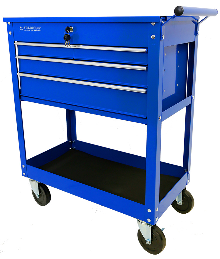 Workshop Tool Trolley 4 Drawer Lockable Top